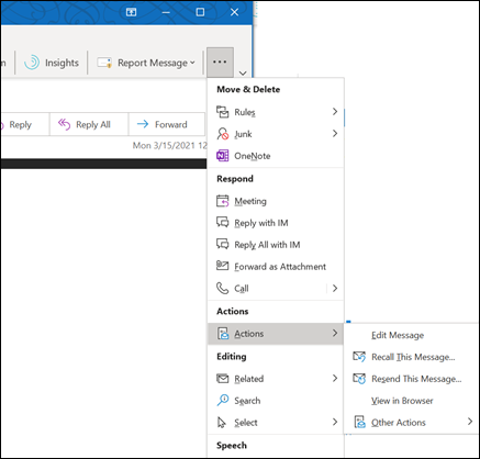 Recall An Email In Outlook